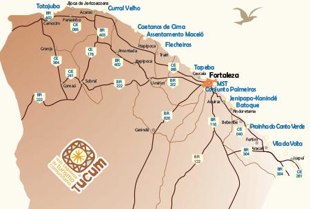 Mapa de atuação da Rede Tucum Turismo Comunitário